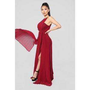 Fashion Nova Khaleesi Dress Maxi Wine Size XL